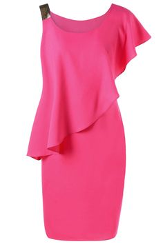 $16.20 One Shoulder Bodycon Capelet Dress - Rose Red