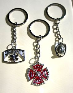 Firefighter or Paramedic Key Chains Maltese Cross, Firefighter Helmet Handmade #Handmade