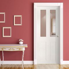 Eton White Primed Victorian Shaker Door with Clear Safety Glass