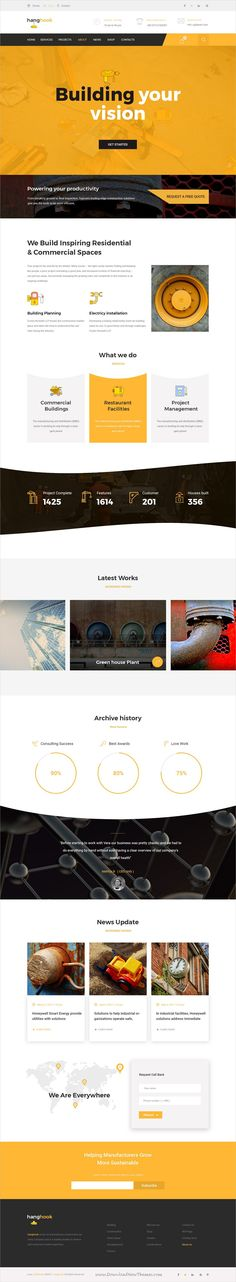 Hanghook is clean and modern design #PSD template for #construction and #building company website with 18 layered PSD pages download now..