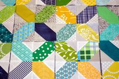 X Marks The Spot Quilt Top | Purple Panda Quilts - I like the mixed greys for the background fabric