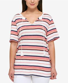 4fe2acbf NEW 3X Tommy Hilfiger Plus Size Striped Tassel-Tie Top Short Sleeve Gorgeous