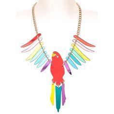 Tatty Devine Parakeet large necklace (red/multi)