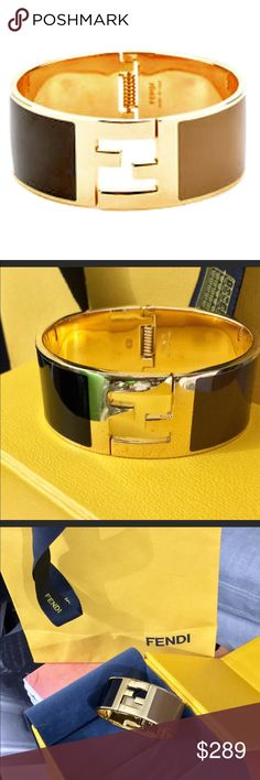 Fendi Cuff Bracelet | Traditional FF Fendi Marking best for a small-medium wrist | unisex  normal wear & tear, pictured  color-blocked | black & brown | gold-plated  sold out in 2014 with promise of no return  purchased as a gift at the Fendi Boutique in Lenox Square Mall, Atlanta, Ga., & has been resting in my jewelry box since (I usually don't wear bracelets)  { Only worn three times } Fendi Jewelry Bracelets