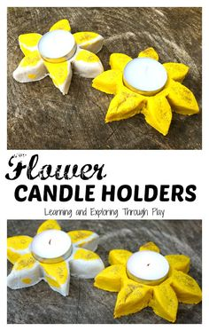 Learning and Exploring Through Play: Flower Candle Holder Salt Dough. Fun things to make with the kids. Keepsake crafts. Homemade gifts. Daffodils. Flower crafts.