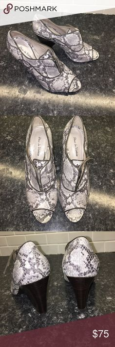 Pour la Victoire Vika Heels Gorgeous snake print embossed leather heels! All details in last pic- true to size! Excellent condition- only slight wearing on soles! z#0508 Pour la Victoire Shoes Heels