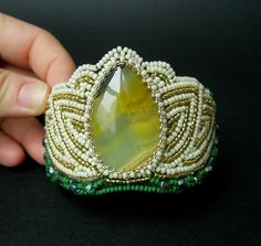 Bracelet, cuff, beadwork, bead embroidery, mother' s day gift, green, white, gold - Made To Order on Etsy, $134.57