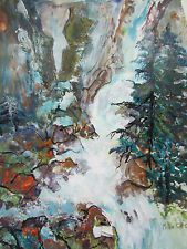SALE Original Watercolor Waterfall By Millie Gift Smith 22/30  pine, falls art