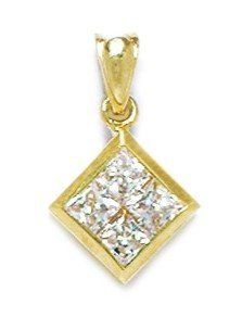 14k Yellow Gold CZ Kite Shaped Pendant - Measures 20x12mm - 20 Inch - JewelryWeb JewelryWeb. $165.00