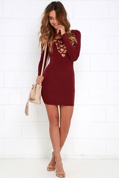 Laced Up All Night Wine Red Lace-Up Dress at Lulus.com!
