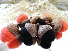 7 Orange & Black CASHMERE ACORNS Rosebud and by CustomWarmWoolies, $11.00