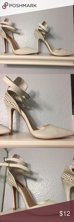 Forever 21 perforated design white pumps heels Worn just once! Has some minor smudges that can be cleaned. Overall EUC! Forever 21 Shoes Heels