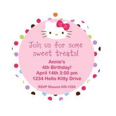 Hello Kitty Party Invitation by outsidetheboxdessert on Etsy, $20.00