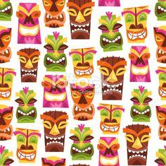 Vintage Wallpaper on Retro Hawaiian Luau Party Tiki Seamless Pattern Background Royalty