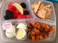 Husband nic's breakfast for lunch. Fruit salad, two hard boiled eggs (little salt packets), hot sausage and sweet potato hash, pita crackers