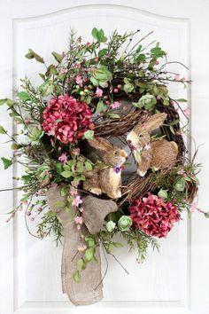 Easter Door Wreath, Primitive Country Wreath, Easter Wreaths, Easter Bunnies, Easter Pip Berries, Easter Decor -- FREE SHIPPING. $176.00, via Etsy.
