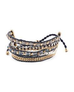 Adjustable+Leather+Beaded+Bracelet