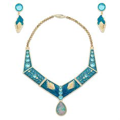 [In fine feather]The sparkling feather design that graces the earrings and necklace of this Pocahontas Jewelry Set will capture your Powhatan princess' spirit. She will radiate the colors of the wind in this dazzling costume accessory.