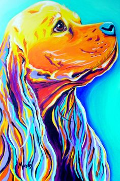 Cocker Spaniel portrait  art colorful zentangle art dog