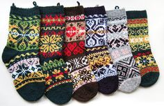 6 Christmas stockings pattern PDF knitting christmas decoration