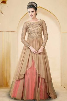 Peach Yellow and #Dark Pink Net Embroidered #Bridal and Party Gown Sku Code:314-5562GW170161 US $ 119.00 http://www.sareez.com/product_info.php?products_id=171303