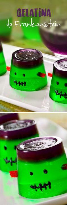 Prepara esta noche de brujas una divertida gelatina de Frankestein que a tus hijos les encantará. Es un postre rápido para tu fiesta de Halloween o una fiesta de disfraces y puedes utilizar el tamaño que prefieras.