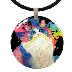 Zapata's World (Night Version) Round Mother of Pearl Cat Art Pendant Necklace by Claudia Sanchez Shell Pendant, Pendant Necklace, Cat Colors, Cat Jewelry, Cat Art, Wearable Art, Jewelry Collection, Original Artwork, Art Pieces