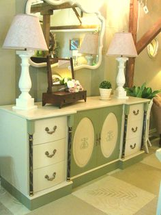 Beautiful Vintage Sideboard painted with Old Ochre and Chateau Grey Chalk Paint® by Annie Sloan -- Efex Moldings applied to doors.