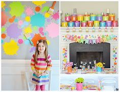 "Kids Art-themed Party - this ""dress for mess"" kids party features fab decor and fun, colorful food ideas!"