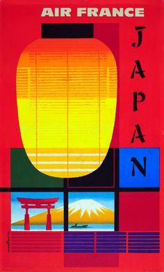 Original Vintage Posters -> Travel Posters -> Japan Air France Fuji - AntikBar