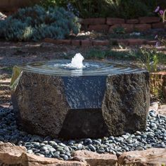 This outdoor water fountain is carved from solid blocks of basalt. Our Marubachi fountain is created with polished angles contrasting the organic natural sides Diy Water Fountain, Indoor Water Fountains, Waterfall Fountain, Indoor Fountain, Rock Fountain, Modern Outdoor Fountains, Patio Fountain, Modern Fountain, Bird Bath Fountain