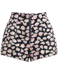 Black High Waist Zipper Floral Shorts - Sheinside.com