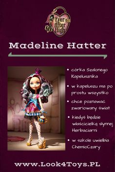 """Madeline Hatter - córka Szalonego Kapelusznika z baśni """"Alicja w Krainie Czarów"""". Madeline Hatter mieszka i uczy się w Ever After High. #EverAfterHigh #MadelineHatter #Look4ToysPL"""