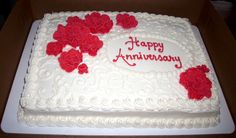 40th anniversary sheet cake...buttercream icing with modeling chocolate flowers