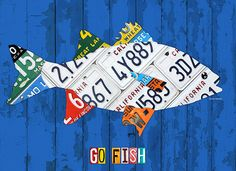 o Fish Freshwater Bass Recycled Vintage License Plate Art