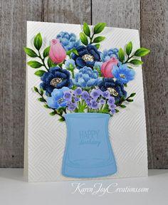 A Blue Bouquet Happy Birthday Handmade Birthday Cards, Greeting Cards Handmade, Birthday Greetings, Happy Birthday, Blue Bouquet, Quote Backgrounds, Altenew, Hero Arts, Card Kit