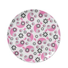 Pink and Black Abstract Flowers Party Plate Party Plates, Black Abstract, Abstract Flowers, Dinnerware, Den, Tableware, Floral, Pattern, Dinner Ware