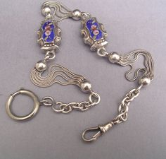 FABULOUS ORNATE SILVER ENAMELED ALBERT POCKET WATCH CHAIN 31 cm = 12.205 inches