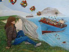 RUBI-CARGO | 80 x 60 cm | Acrylic Paint, Oil Pastels and Watercolour Pencils On Hardboard | ® Krzysztof Polaczenko 2015