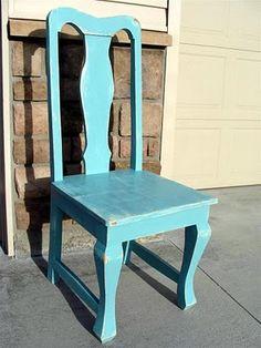 robin's egg blue t-back chair
