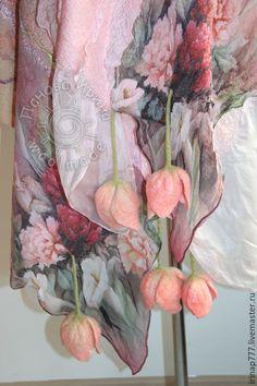 """Купить палантин """"Розовый жемчуг"""" - бледно-розовый, цветочный, розовый, розовые цветы, жемчужный, тюльпаны"""