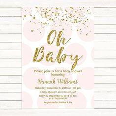 oh baby! gold glitter baby shower invitation faux glitter stripes, Baby shower invitations