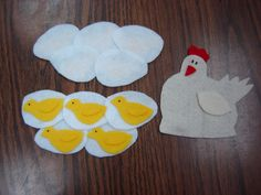 """Flannelboard: """"Ten Fluffy Chickens"""" /   Five eggs and five eggs /  And that makes ten  / Sitting on top   Is Mother Hen /  Cackle cackle cackle /  What do I see? /  Ten fluffy chickens /  Yellow as can be - from Storytime Katie, images are microsoft clipart"""
