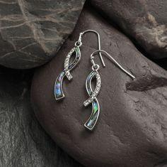 Ribbon style Paua shell earrings
