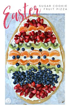 Sugar Cookie Easter Egg Fruit Pizza Easy to make Easter treat Cream Cheese frosting topped with your favorite fruits Colorful Spring Dessert Ideas Easter Recipes, Appetizer Recipes, Holiday Recipes, Dessert Recipes, Dessert Ideas, Spring Recipes, Spring Meals, Fruit Ideas, Food Ideas