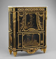 Created by Jean-Henri Riesener in c.1783. This Drop-front secretary (Secrétaire en armoire), belonged to Marie-Antoinette. It was acquired by Gilded Age NYC society hostess, Mrs. William Kissam Vanderbilt (Alva), in c.1882. Bequested to the MET, by William K. Vanderbilt, Gilded Age railroad magnate, in c.1920. ~~ (cwl) ~~ (Image via: MET museum)