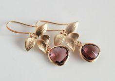 Plum Earrings - Gold Dangle, Plum Framed Glass Earrings - Christmas Gifts. $21.00, via Etsy.
