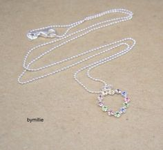 Sterling silver crystal heart pendant necklace, Crystal heart necklace £17.00