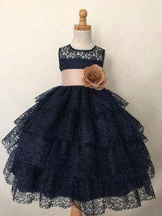 Flower Girl Bridesmaids Summer Easter Navy by ForeverMyPrincess1