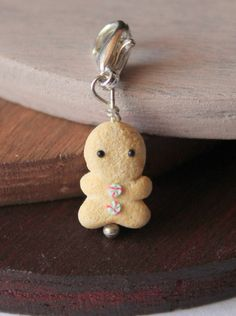 Gingerbread man charm, handmade with polymer clay, miniature food jewelry by Burgundy Pumpkin